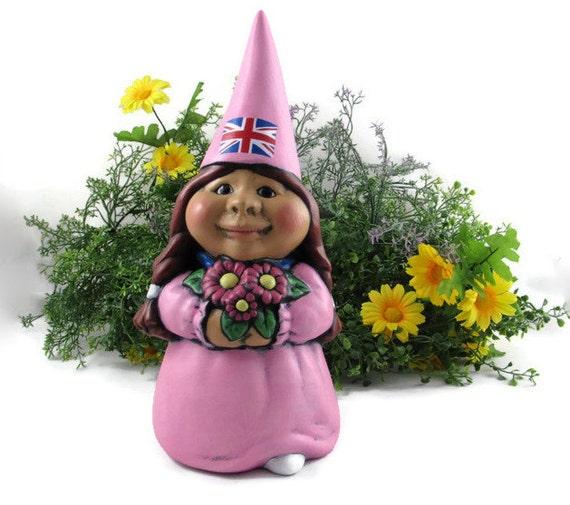 Female Garden Gnomes: Custom Ceramic Female International Garden Gnome-Britain 11