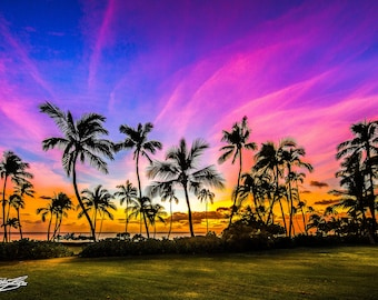 "Beautiful Hawaiian Sunset Fine Art Print titled ""Olina"" on 5""x7"", 8""x10"", or 11""x14"" White or Black Mat"