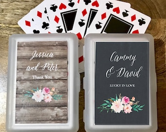 25 Personalized Playing Card Sets - Wedding Playing Cards - Deck of Cards - Playing Card Favors - Wedding Favors (EB2033GDN)