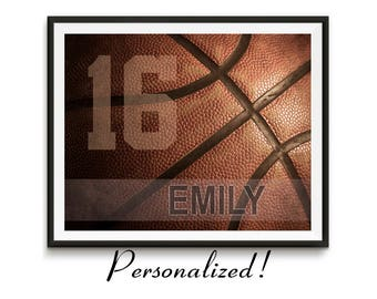 GET 15% OFF TODAY! Personalized basketball gifts, Sports Team Gift, Basketball art, Girls Basketball gift, Boys room art Canvas / Basketball