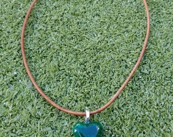 Small Green Heart Glass Necklace