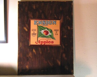 Vintage Fruit Label, Kitchen Wall Art, On Canvas, Dining Room Art, Red Apple,  Fruit Crate Label, Kitchen Walls, Chocolate Brown
