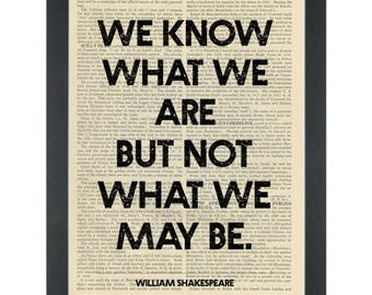 William Shakespeare quote What we may be Dictionary Art Print
