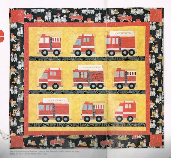 QUILT PATTERN - Fire Truck Wall Hanging Quilt Sewing Pattern ...