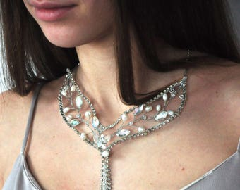Crystal Choker Pearl Wedding Silver  Necklace Bride Beaded Choker Necklace Bridal Choker Rhinestone Choker Bridesmaid Jewelry Prom choker