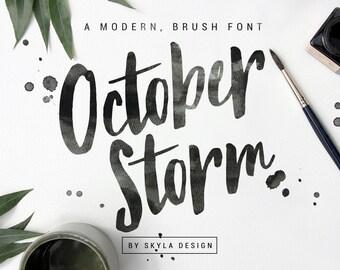 Modern brush font October storm, handwritten font, Script font download, hand lettered font, digital font, ink type, watercolor font