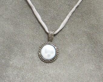 Full Moon 12mm Medallion vitreous enamel necklace