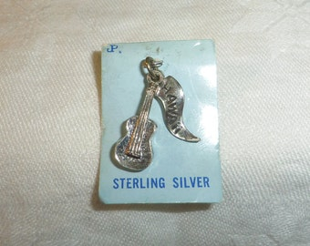 "Now 50% Off Sterling Charm, Guitar Hawaii on original card 1"" long Marked JP"