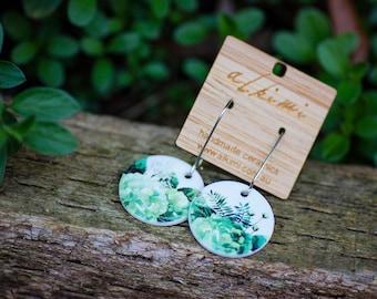 Statement Porcelain Earrings, Hydrangea Fern / Handmade Statement Jewelry / Ceramic Earrings / Ceramic Statement Jewellery / Free Shipping
