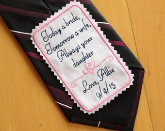Wedding Tie Patch Personalized, Father of the Bride tie patch, gift, intertwine hearts design,Today a bride, always your daughter, F22