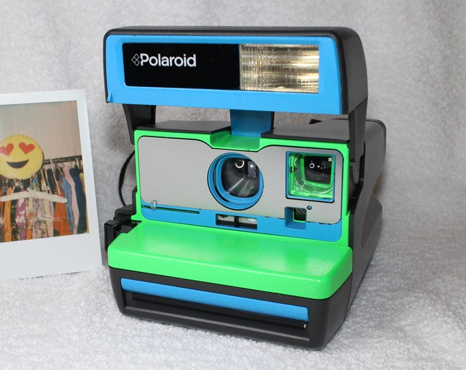 Neon Green and Blue Upcycled Polaroid 600 OneStep With Close Up And Flash Built-In