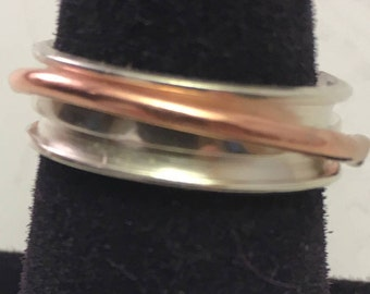 """Spin Ring..........Sterling band with copper """"spinning"""" ring in center"""