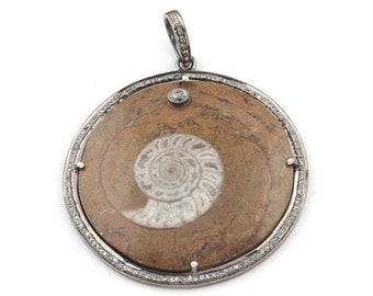 Mothers Day Sale 1 Pc Pave Diamond Amnonite Fossil  Pendant Over 925 Sterling Silver 48mmx44mm PD1096