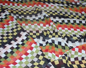 "Chiffon Tiny Stone on Multi- Color Plaid Fabric 100% Pure Silk 1 Yard and 10"" Long 60"" Wide"
