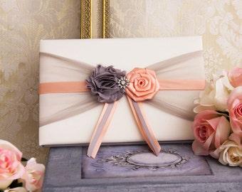 Peach and Gray Wedding Guest Book, Pen, Pen Holder, Peach Wedding Sign Book, Peach Guest Book, Gray and Peach Wedding Accessories