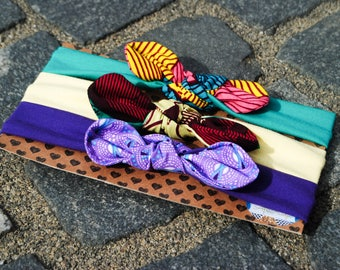 African headband - Baby headband set - Girls headband set - Newborn headband - Baby bow headband - Baby knot headband - African accessory