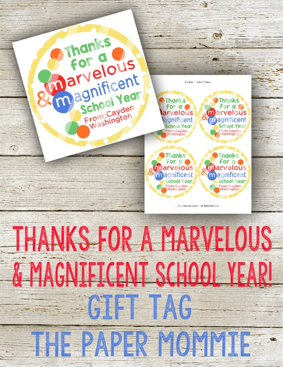 Thank You For A Marvelous & Magnificent School Year Gift