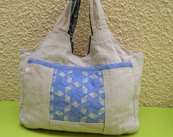 Canvas sheet of recycled hemp bag Bohemian patchwork ribbons Pocket