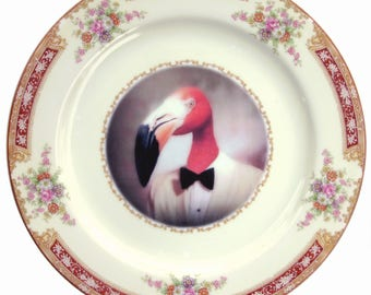 Fernando the Fantastic Flamingo Portrait Plate 10""