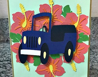 Hibiscus Tropical Jeep Lover Card
