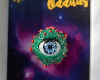 Green and Red Blinking Eyeball Pin
