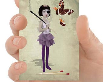 Matchstick Fairy | Artist trading card | ACEO |  Fairy art | ATC | Fantasy art | Mini print | Art card