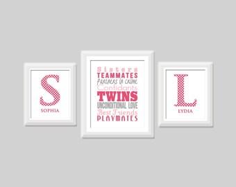 Twin Girl Nursery Art-Set of Three, Twin Sister Subway Art, Twin Polka Dot Monogram Prints, Twin Nursery Art Shown in Pink and Gray