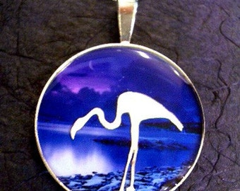 Eclipse Series TWILIGHT Pendant, Sterling Silver, Handmade, Flamingo