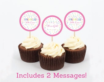 Baby Sprinkle Cupcake Toppers / Pink Baby Sprinkle / Baby Girl Sprinkle / Sprinkled With Love / Printable INSTANT DOWNLOAD A109