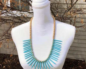 Spike Necklace, Statement Necklace, Turquoise Necklace, Wood Bead Necklace, Gold Bead Necklace, Birthday Gift, Bib Necklace,
