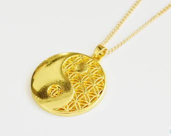 Gold flower of life pendant necklace