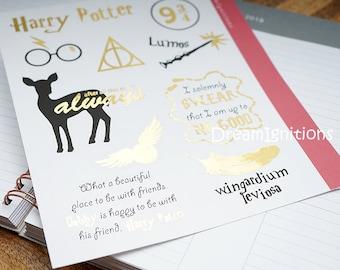 FOIL Harry Potter Stickers - Hand drawn Lumos Always Snitch Glasses // 10 PC Sticker 8.25x7 Sheet - D24 Foil