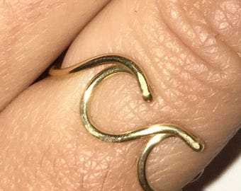 Double Ocean Wave Ring, Made to Order Adjustable Wire Design