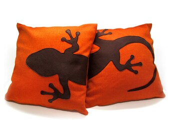 Gecko cushion covers, tangerine and dark brown, decorative pillows, sofa pillows, animal pillows, dog lover gift, pillow set, cushions