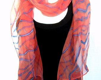Hand Painted Silk Scarf, Stripes Scarf, Apricot Aqua Blue, Silk Chiffon Scarf, Geometrical, Abstract, Gift Under 50