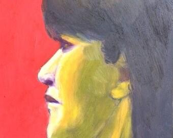 "Original Oil Painting Small Portrait ""Looking Sideways""  6x6"""