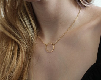 Necklace with circle on gold chain