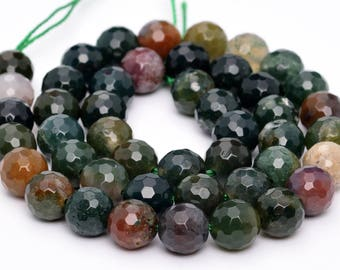 """6MM Faceted Indian Agate Natural Gemstone Half Strand Round Loose Beads 7.5"""" (100758h-323)"""