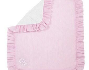 Monogrammed seersucker blanket ~ Minky and Seersucker Monogrammed blanket