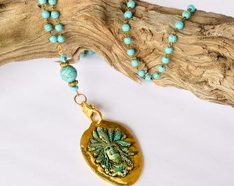 Indian Chief Pendant Necklace /  Gold and Turquoise Necklace / Long Necklace / Gift For Her / Tribal Necklace / Boho Chic / Bohemian /