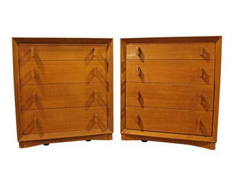 Pair of Mid-Century Danish Modern Bleached Mahogany Bachelor Chests/Dressers