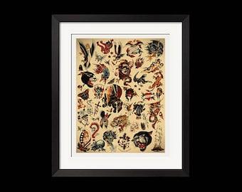 22x28.5 Print - Sailor Jerry x Ed Hardy Old School Vintage Tattoo Flash Poster 0432