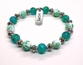 Hope Charm Bracelet, Turquoise and White Beaded Bracelet, Inspirational Bracelet, Hope, Jewelry, Gift