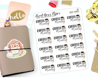 Coffee Monday Stickers - Typography Planner Stickers - Script Planner Stickers - Coffee Planner Stickers - But First Coffee - 987