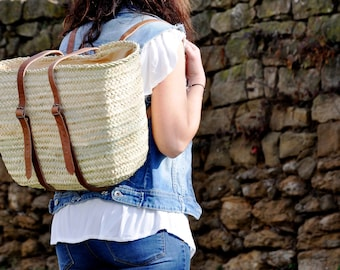 Straw Backpack - long leather handles - Straw bag, French basket, palm tree leaves bag, straw basket, french market basket, market straw bag