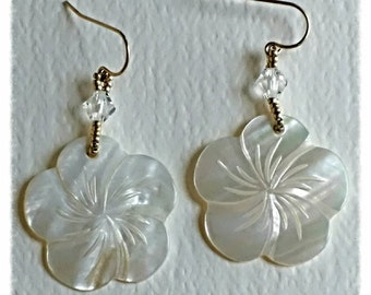 Handcarved, Mother of Pearl, flower earrings, with Swarovski crystals and gold filled ear wires.