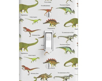 Dino Dinosaur Pattern Switchplate Light Switch Cover, Kids Room, Baby's Room, Home decor, Bedroom Decor, Outlet, Toggle, Decora, Bathroom