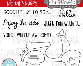Scootin' By DIGITAL Stamp Set