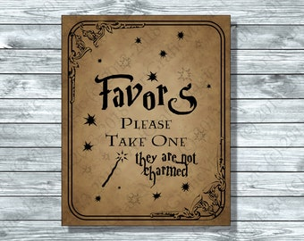 Wizard Witch Favors Party Sign 8 x 10 Printable Brown Magic Fairytale Wedding Gift Table, Bridal Shower, Baby Shower instant download FM1