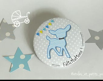 magnet Fawn grey background with dots 'Congratulations!'